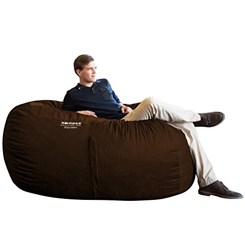 Xorbee 6-Foot Foam-Filled Bean Bag Lounger in Microsuede, Cocoa Brown
