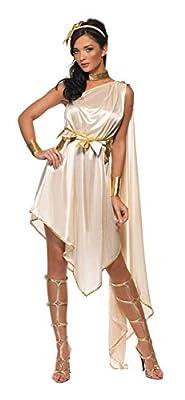 Fever Smiffys Women's Goddess Costume, Dress, Belt, Arm cuffs, Choker and Headpiece, Legends