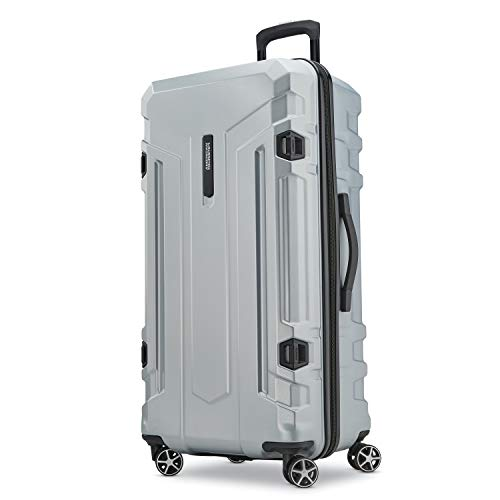 American Tourister Trip Locker Hardside Checked Luggage with Dual Spinner Wheels, Silver American Tourister Lightweight Suitcase