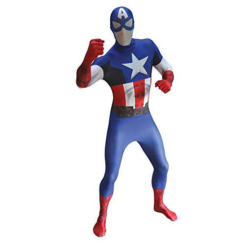 Adults Xxlarge Captain America Morphsuit Marvel Comic Fancy Dress Costume Outfit - America Morphsuit