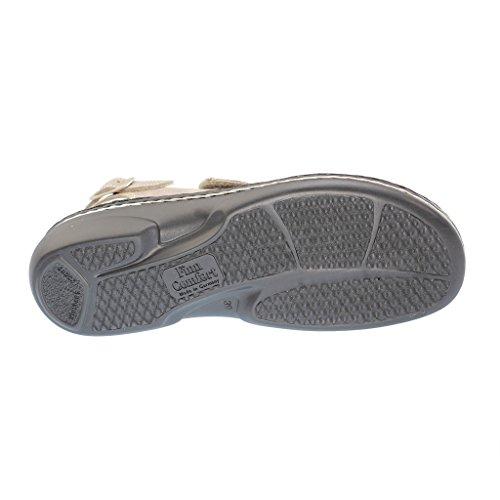 Finn Comfort 02560-509010 - Sandalias de Vestir de Cuero Para Mujer Beige Beige, Color Gris, Talla 42 EU