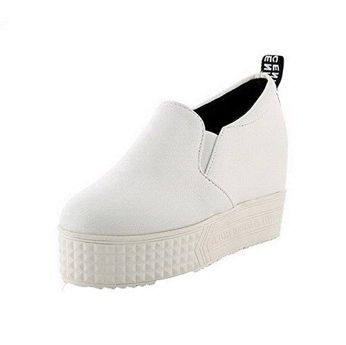 VogueZone009 Damen Ziehen auf Hoher Absatz Nubukleder Rein Rund Zehe Pumps Schuhe Weiß