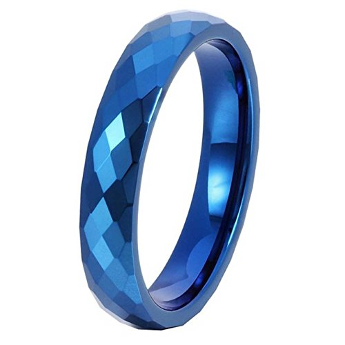 LAMUCH Men Women 4MM Wide Blue Prism Approved Flower Tungsten Steel Couple Ring (Yamaha Chimes)