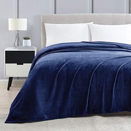 Love's cabin Flannel Fleece Luxury Blanket King Size Navy Blue, Super Soft Double Side Warm Bed Blanket, Cozy Microfiber All Season Blanket Couch