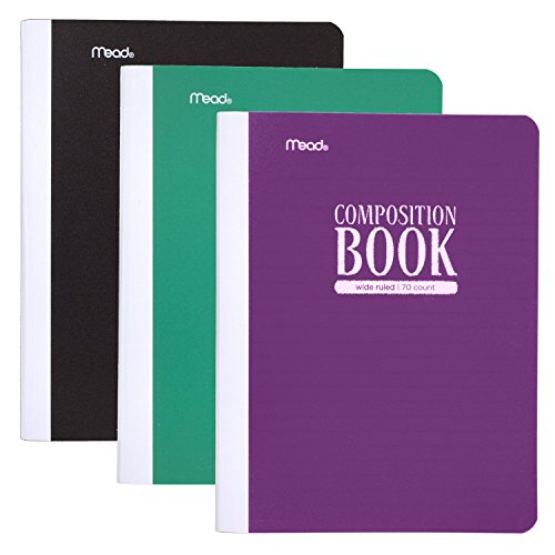 Mead Composition Book / Notebook, Wide Ruled Paper, 70 Sheets, Plastic, 9-3/4