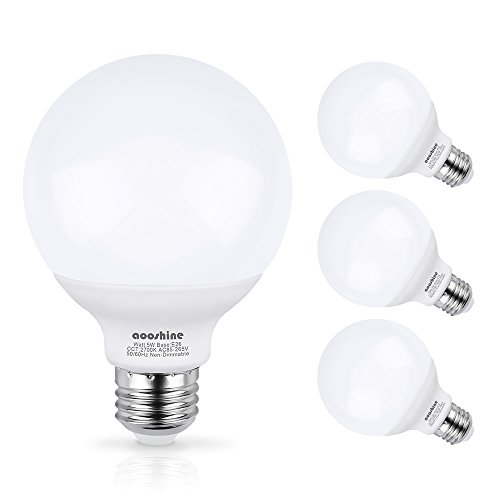 - G25 LED Bulb, Aooshine 50W Incandescent Bulb Equivalent Soft Warm White 2700K 5 Watts E26 Base Globe Vanity Makeup Mirror Lights Bulb, Non-dimmable(Pack of 4)