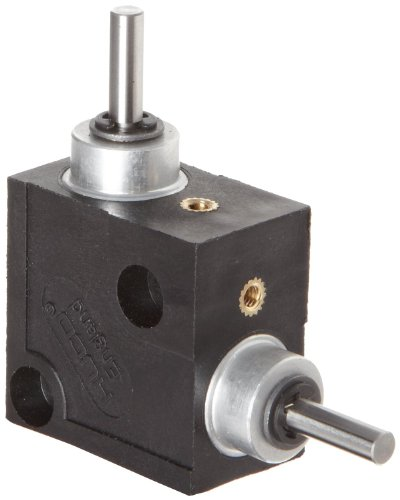 Huco 332.31.2.Z Size 31 L-Box Miniature Right Angle Gearbox, Acetal Case with Hardened Steel Gears, Inch, 1.2