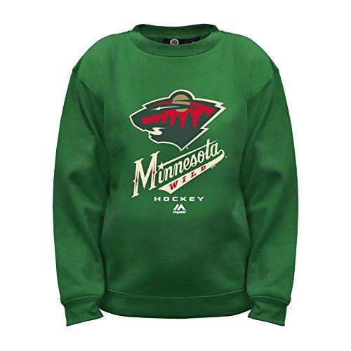NHL Minnesota Wild Long Sleeve Fleece Crew Neck Top, Medium, Dark Green