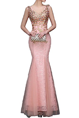 Audrey Bride 2017 New Evening Gowns Mermaid Appliques Prom Dresses Long Lace-12-Orange Pink