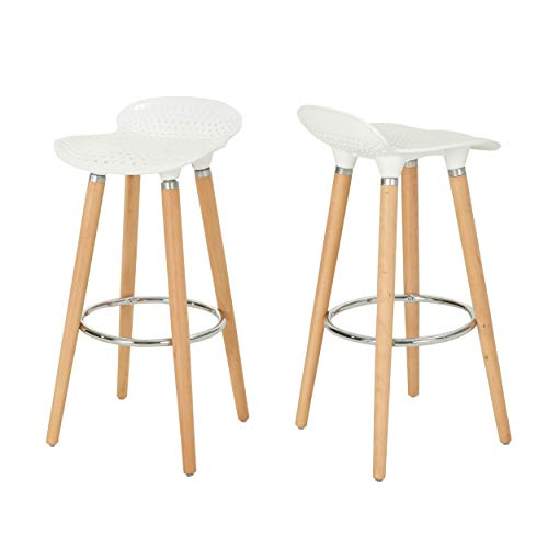 Mateo Bar Stools - Plastic Perforated Tractor Seats - Beechwood Legs - White and Natural Finish with Chrome - Set of 2-28.5