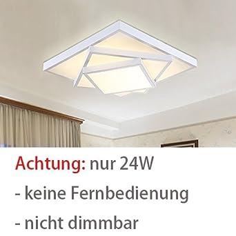 Style Home 24W LED Deckenlampe Für Wohnzimmer Schlafzimmer Kinderzimmer  Weiß Warmweiß Quadratisch [Energieklasse A++]