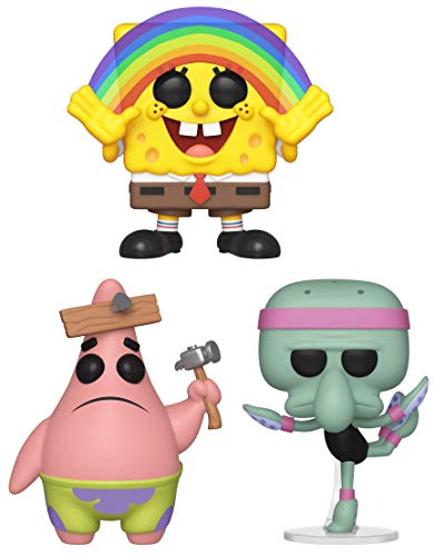 (Funko Pop! Animation: Spongebob Squarepants - Spongebob Rainbow, Patrick with Board and Squidward Ballerina - Set of 3 - in Bubble Pouches)