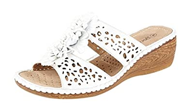 a3201c9b39fc Image Unavailable. Image not available for. Colour  WOMENS LOW WEDGE LEATHER  LINED MULE SANDALS ...