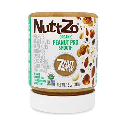 NuttZo Organic Smooth Peanut Pro Seven Nut & Seed Butter, 12 Ounce (Organic Nut Butter)