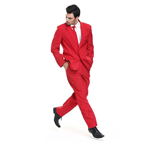 YOU LOOK UGLY TODAY More 2017 Designs! Mens Christmas Suit Party Funny Novelty Xmas Jacket Costume in Solid Color Red -XXL Size