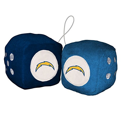 - BSI NFL Los Angeles Chargers Fuzzy Dice, One Size, Multicolor