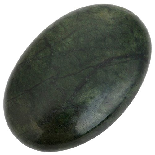 rockcloud Oval Worry Stones,Palm Pocket Energy Stone,Healing Crystal with Velvet Bag,Green Jade