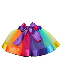 Genenic Little Girls Layered Rainbow Ribbon Tutu Skirt Ballet Tiered Ruffle Clubwear
