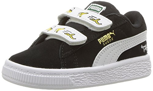 PUMA Baby Minions Suede Velcro Kids Sneaker Black White, 8 M US Toddler ()