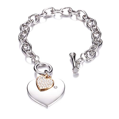 PJ Heart Crystal Charm Bracelet for Women Girls - High Polished Trendy Love Heart-Shaped Link Chain Charms Bracelets Jewelry, Toggle Clasp (Charm Toggle Heart Clasp)