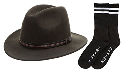 (Men's Premium Wool Outback Fedora with Leather Band Hat with MIRMARU Socks.(HE60,Olive,M))