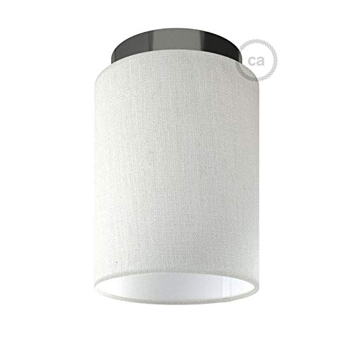 Fermaluce with White Raw Cotton Cylinder Lampshade, Black Pearl Metal, Ø 5.90