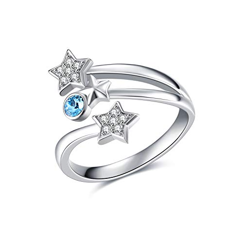 AOBOCO Sterling Silver Star Open Ring Adjustable Finger Ring with Swarovski Aquamarine Crystal,Fine Jewelry Gift for Women Girls