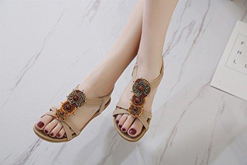 XIAOQI et Sandales d'été Slip New Perles air Mode Fantaisie Bohème Extérieur Pantoufles Beige Peignoirs Sandales Plein Pendentif Intérieur Femmes wv6qxTw