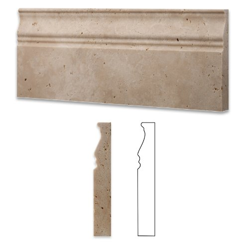 Ivory / Light Travertine Honed 5 X 12 Baseboard Trim Molding - Box of 5 pcs. (Finish Wood Base Molding)