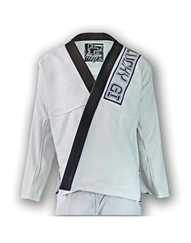 Great-BJJ-GI-Lucky-Gi-Domino-Gi-White-Martial-Arts-Uniform-Comfortable-Bamboo-Brazilian-Jiu-Jitsu-GI-Matching-Gi-Bag-550-Bamboo-Blend-Micro-Pearl-Weave-Light-Weight-Flexible-Preshrunk
