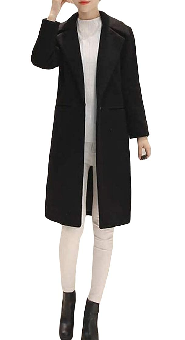 Colourful Womens Mid-Long Lapel Pocket Solid Thick Curvy Skinny Woolen Jacket