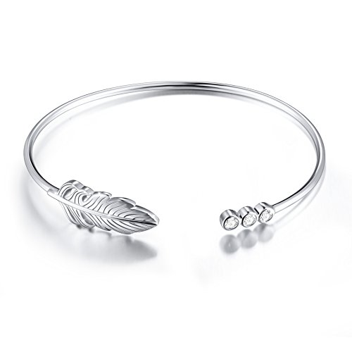 SILVER MOUNTAIN Sterling Silver Peacock Feather Necklace Bangle Inspirational Gift for Her, Women, Friendship (Feather Bangle) -