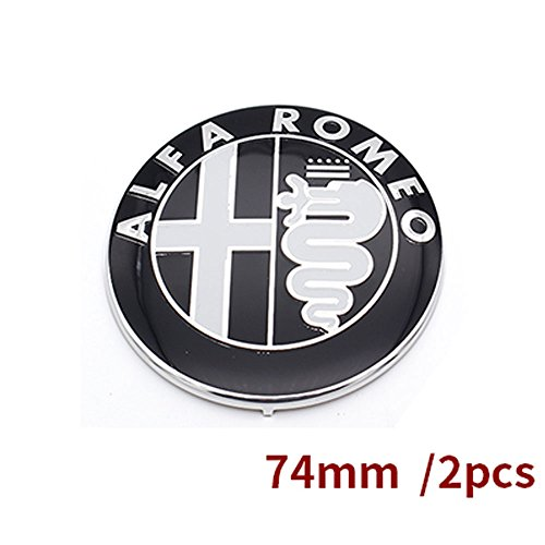 Specials sale Black white Color 74mm 7.4cm ALFA ROMEO Car Logo emblem Badge sticker for Mito 147 156 159 166 (Black)