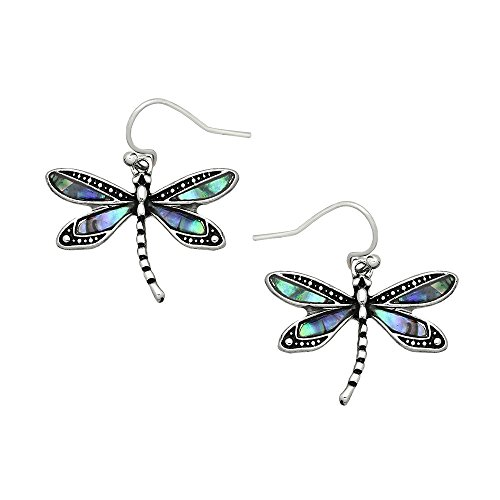 (Liavy's Dragonfly Fashionable Earrings - Fish Hook - Abalone Paua Shell - Unique Gift and Souvenir)