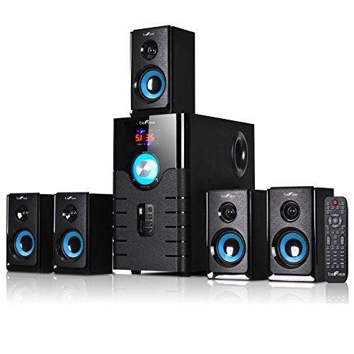 beFree Sound BFS-500 5.1 Channel Surround Sound Bluetooth Speaker System- Blue