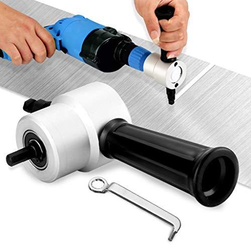 Exteren Double Head Nibble Metal Cutting Sheet Nibbler Saw Cutter Drill Attachment (Silver)