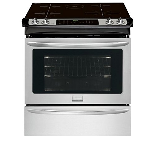 Frigidaire FGIS3065PF 30' Slide-In Electric Range with Induction Technology True Convection Oven Temperature Probe and Steam Cleaning in Smudge-Proof Stainless Steel with Black