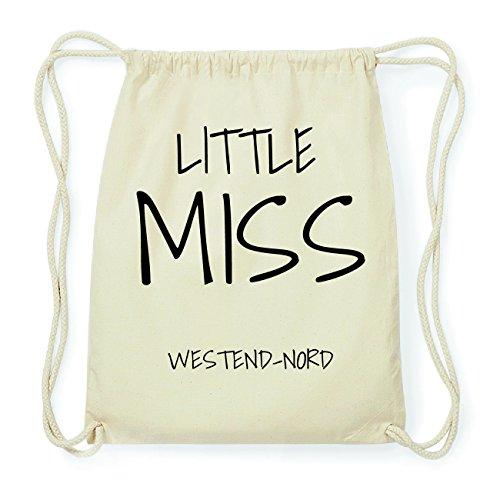 JOllify WESTEND-NORD Hipster Turnbeutel Tasche Rucksack aus Baumwolle - Farbe: natur Design: Little Miss