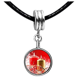 Chicforest Silver Plated The golden and red Christmas candles Photo Red Zircon Crystal July Birthstone Flower dangle Charm Beads Fits Pandora Charm