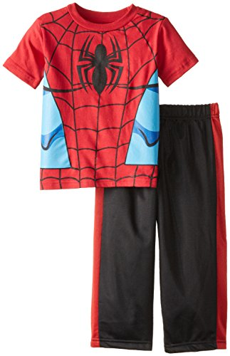 Marvel Little Boys' Spiderman Toddler Short Sleeve Tricot Pant Set, Red/Black, 2T