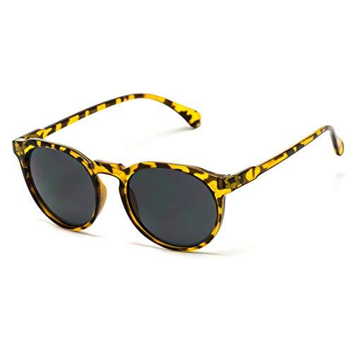 WearMe Pro - Retro Unisex Round Mirrored Fashion Sunglasses (Tortoise/Black Lens, 52) (Rounded Sunglasses Black)