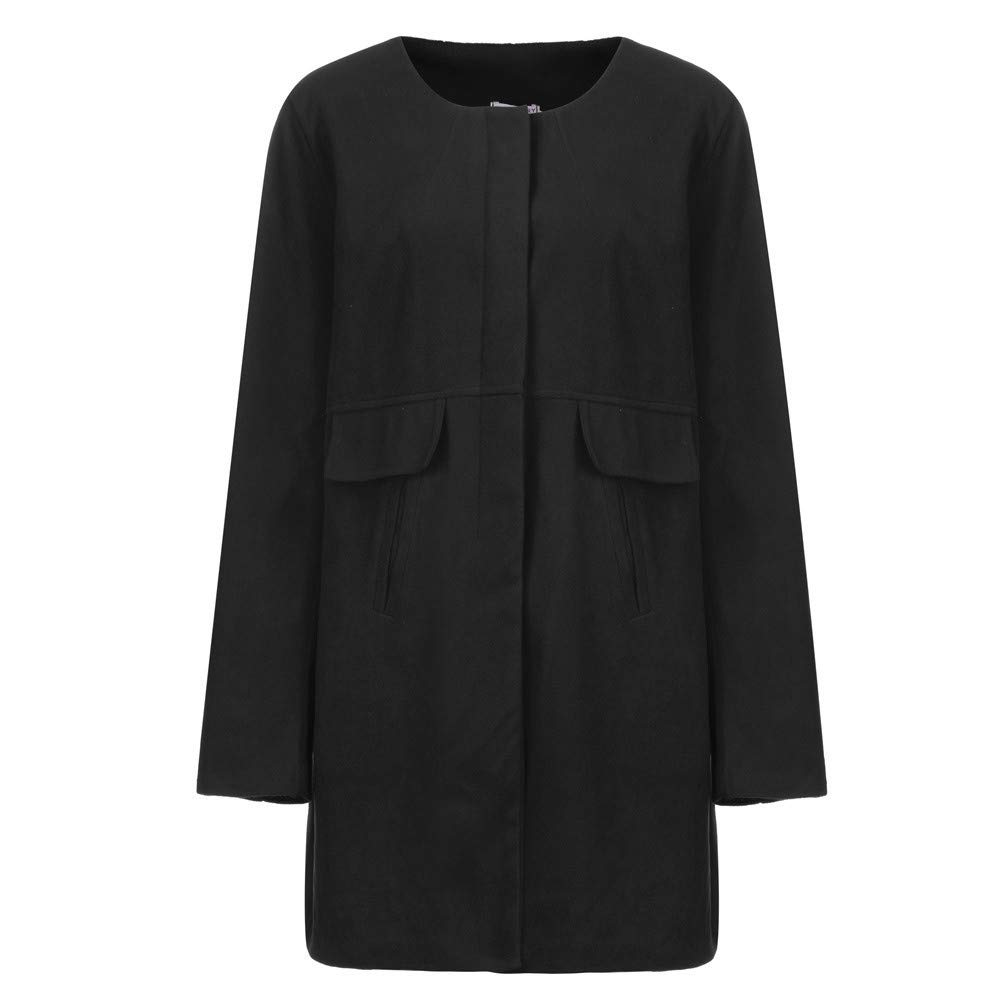 Sttech1 Women Simple Style Long Round Neck Collar Woolen Coat Jacket Work Suit Plus Size S-5XL