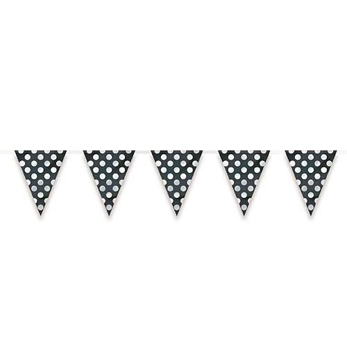12ft Plastic Black Polka Dot Pennant - Pennant 12' Banner
