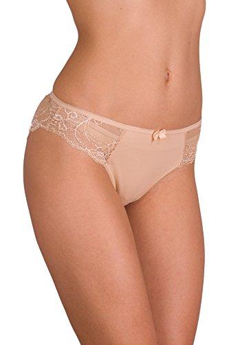CFB 023 0201 Women's Best Seller Sexy Soft Cotton Lace-Trim Underwear Bikini Briefs Panty, S/2-4 Beige 3 - Lace Bikini Underwear Trim