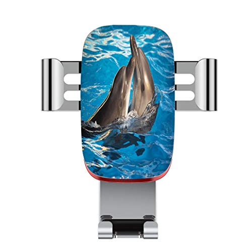 Metal Automatic car Phone Holder,Dolphin,Aqua Show Pair of Dolphins Dancing in The Pool Animal Family Tenderness,Adjustable 360 Degree Rotation, car Phone Holder Compatible with 4-6.2 inch Smartphone