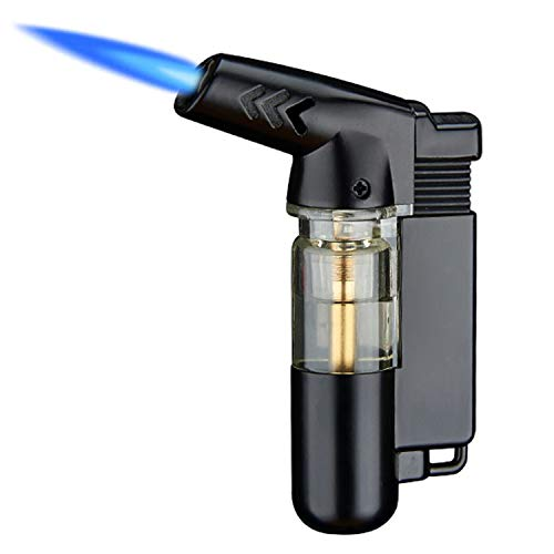 Yeuligo Torch Lighters, Butane Lighter with Visible Window and Key Ring, Adjustable and Windproof Gas Lighter for Kitchen Fireplace Candle Grill Camping Fireworks. (Gas not Included)
