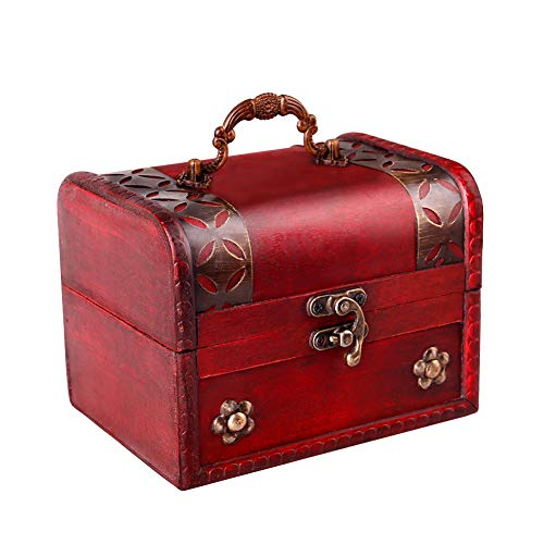 SICOHOME Pirate Treasure Box,5.7 Wood Decorative Box with Handle and Pirate Trinkets for Kids