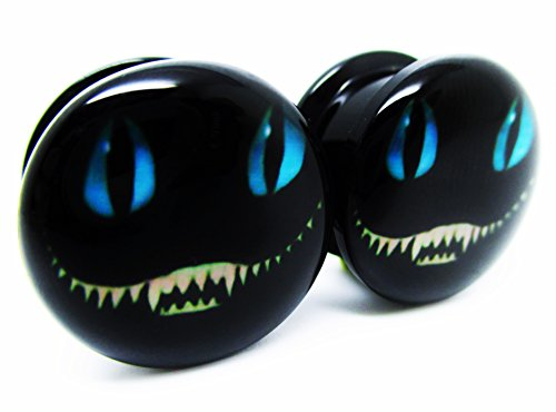 Cheshire Cat Ear Plugs - Acrylic Screw-On - 8 Sizes - Brand NewPair (9/16