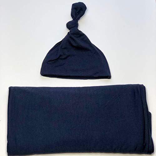 Baby Swaddle Blanket and Hat set | Receiving Blanket | Nursing Cover | Car Seat Cover | Newborn Infant Toddler (Navy Blue)