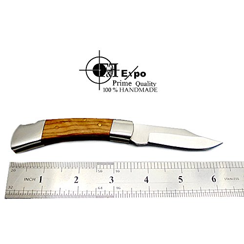 Beautiful Olive Wood 6.5'' Handmade Stainless Steel Folding Pocket Knife Sliver Bloster With Back Lock 100% Prime Quality